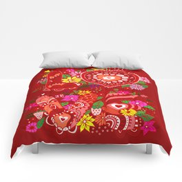 Love Hearts Flowers - Valentine's Day Gifts Comforters