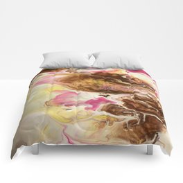 Chocolate with Pink and Yellow Marble Comforters