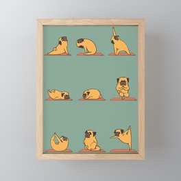 Pug Yoga Framed Mini Art Print