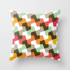 Mint green, orange & red pattern Throw Pillow