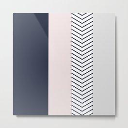 Navy Blush and Grey Arrow Metal Print