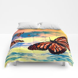 Flying Monarch Butterflies Comforters