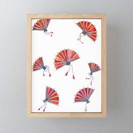 Red oriental fans Framed Mini Art Print