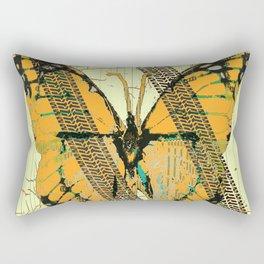 ROADKILL MONARCH BUTTERFLY  & TIRE TRACKS ART Rectangular Pillow
