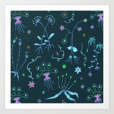 Blue Flora of Planet Hinterland Art Print