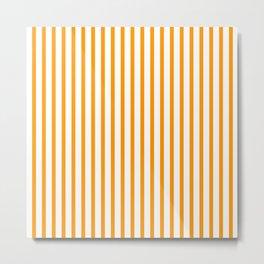 Orange & White Vertical Stripes Metal Print