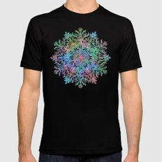 Nature Mandala in Rainbow Hues Black 2X-LARGE Mens Fitted Tee