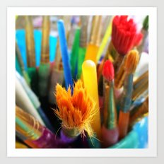 Colourful paint brushes Art Print