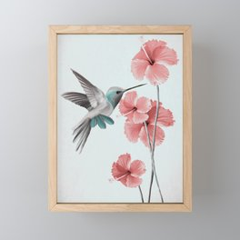 Hummingbird with Hibiscus Framed Mini Art Print