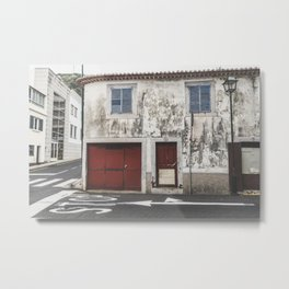 Street photography / old building with red doors and blue windows / Madeira wanderlust fine art print Metal Print