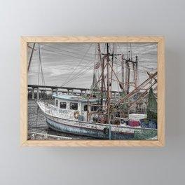 Fishing Boat in Harbor Framed Mini Art Print