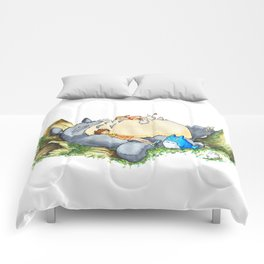 Ghibli forest illustration Comforters