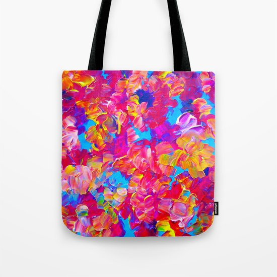 FLORAL FANTASY Bold Abstract Flowers Acrylic Textural Painting Neon Pink Turquoise Feminine Art Tote Bag