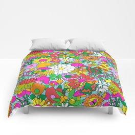 60's Groovy Garden in Blue Comforters