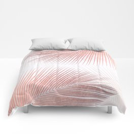 Palm leaf synchronicity - rose gold Comforters