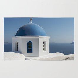 White Church with Blue Dome, Santorini Rug