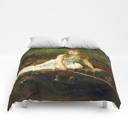 """John Collier """"The Butterfly inscribed 'Portrait of Mabel...'"""" Comforters"""