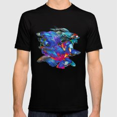 FIGHTING FISHES BETTA - Animals | Psychedelic | 70's | Abstract | Pop | Surrealism | Nature Black Mens Fitted Tee MEDIUM