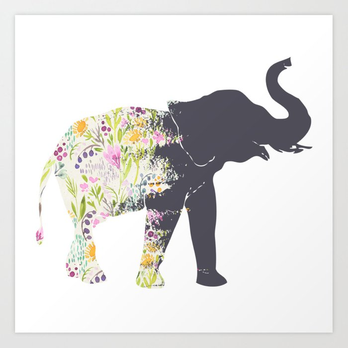 Floral Elephant Animal Print Art Print