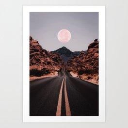 Road Red Moon Kunstdrucke
