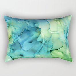 Blue Green Spring Marble Abstract Ink Painting Rectangular Pillow