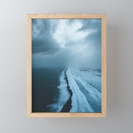 Moody Black Sand Beach in Iceland - Landscape Photography Framed Mini Art Print