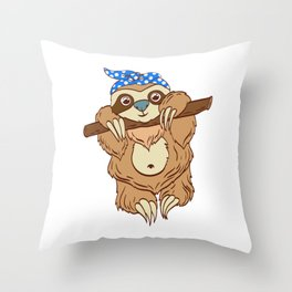 "For Animal Lovers Cute Sloth Shirt For Animal Lovers ""Sloth"" T-shirt Design Lazy Sleepy Throw Pillow"