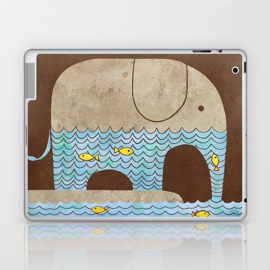 Thirsty Elephant - colour option Laptop & iPad Skin