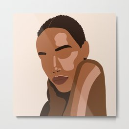 Black woman art, Black Woman Illustration, Female Portrait Print, Modern art, Black Girl Wall Art,African woman Art,African american Metal Print