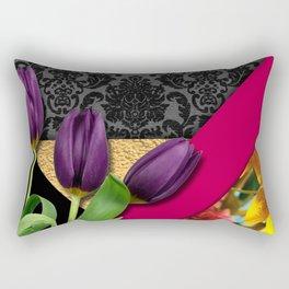 Geometric Shapes Damask & Flowers Rectangular Pillow