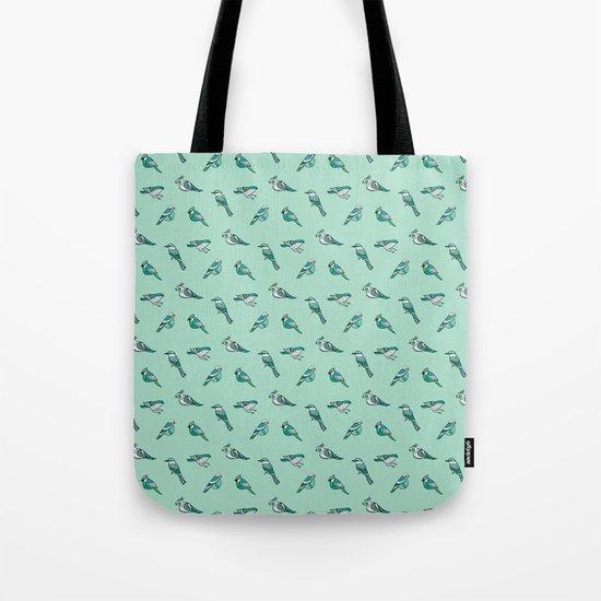 doodle birds - mint Tote Bag