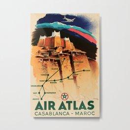 Air Atlas Vintage Travel Poster Metal Print