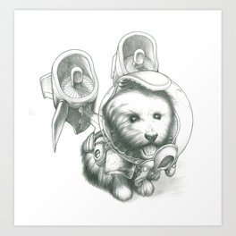 Jetpack Dog | Fluffy Art Print