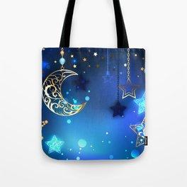 Gold Crescent on Blue Background Tote Bag