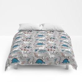 Origami dino friends // grey linen texture blue dinosaurs Comforters