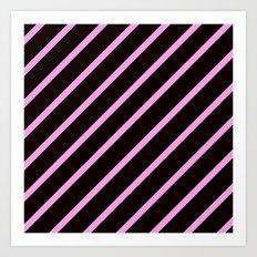 Pink & Black Stripes Art Print