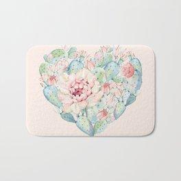 Cactus Rose Heart on Pink Bath Mat