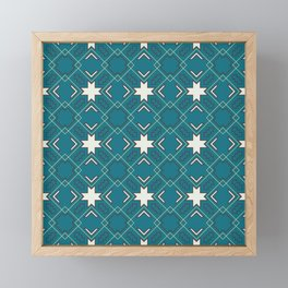 Ethnic pattern in blue Framed Mini Art Print