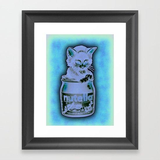 Kitten Loves Nutella Framed Art Print