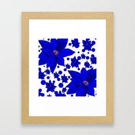 Poinsettia Blue Indigo Pattern Framed Art Print