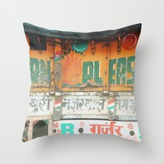 horn please! india truck sign Throw Pillow