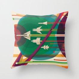 NASA Retro Space Travel Poster The Grand Tour Throw Pillow