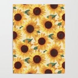 Happy Yellow Sunflowers Poster