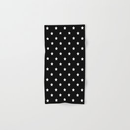 Black Background With White Stars Pattern Hand & Bath Towel