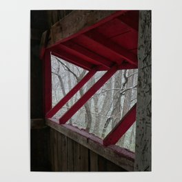 Snowfall Outside a Covered Bridge Poster
