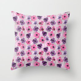Watercolor Florals// Anemone Pattern Throw Pillow