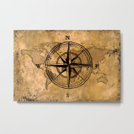 Destinations - Compass Rose and World Map Metal Print