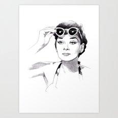 Audrey Hepburn - Summer girl Art Print