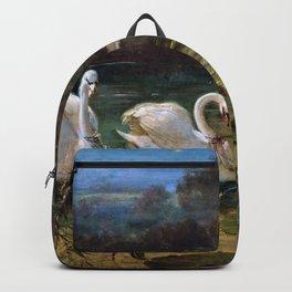 Swan At The Lake - Hans Zatzka Backpack
