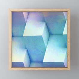 Pastel Blue Stacked Boxes Framed Mini Art Print